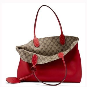 Gucci Reversible GG Leather Tote Bag, Red/Beige
